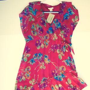 Sundance Silk Dress Bold Floral 12P NEW Flattering